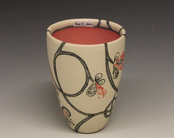 Cup with Coral Pink Interior and Hand Drawn Vine Exterior: Small_PinkC_0001