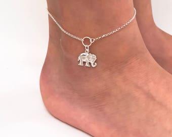 Elephant Anklet in Sterling Silver - Adjustable Sterling Silver Elephant Anklet
