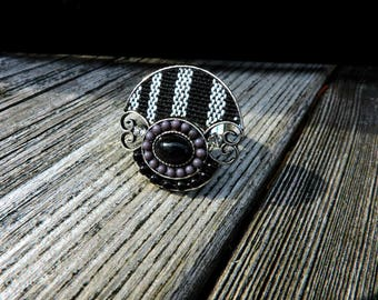 Vintage Art Deco Style Wearable Art Ethnic Hand Crafted Ring Woven Fabric Adjustable Jewelry One Size
