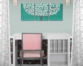 Teal and Pink Girls Room Painting Wall Art Decor - Tree on Canvas Triptych - 35x14
