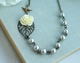 Ivory Rose Flower Leaf Flying Swallow Bird Grey Pearl Necklace Vintage Inspired Necklace Nature Bridal Necklace Bridesmaid Gift Wedding Gift