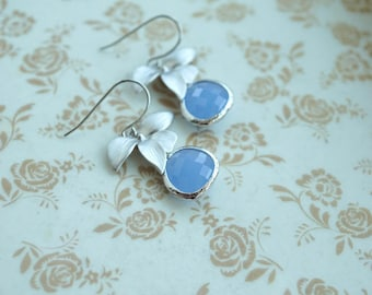 Silver Orchid Flower Earring Light Blue Gold Orchid Earring Powder Blue Orchid Earrings Bridesmaid Gift Silver Plated Wedding Flower Wedding