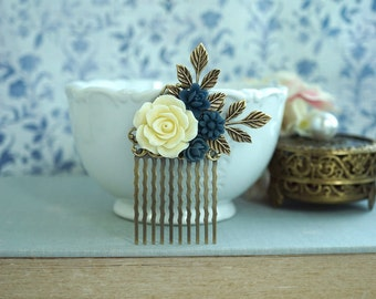 Navy Blue Rose Comb Blue Wedding Comb Ivory Shade Floral Hair Comb Dark Blue Flower Hair Accessories, Something Blue Navy Blue Hair Piece