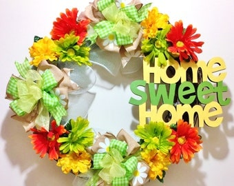 FREE SHIPPING Home Sweet Home Floral Yellow Green Orange - Welcome Door Grapevine Wreath