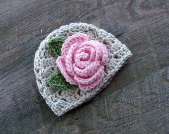 Flower Baby Hat, Baby Girl Hat, Crochet Rose Hat, Crochet Pink Baby Hat, Baby Girl Photo Prop, Rose Baby Shower Gift