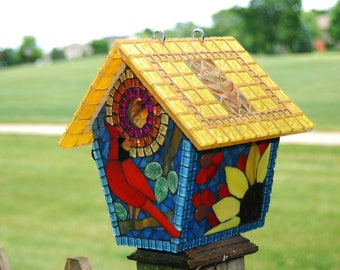 Birdhouse Stained Glass Mosaic Cardinals in the Treetops