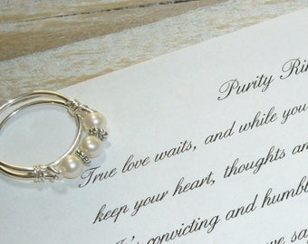 Pearl Band, Purity Ring,with Inspirational Card, Sterling Silver