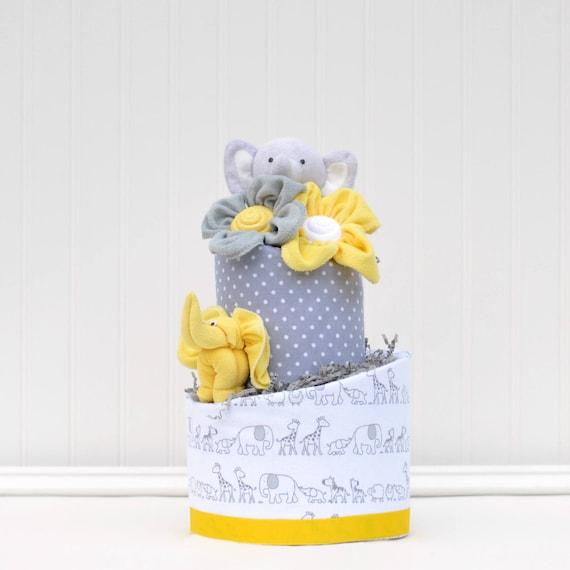 Two Tier Yellow Elephant Baby Cake