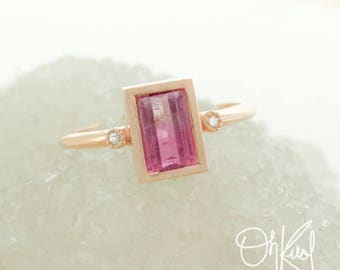 Ombre Pink Tourmaline Ring - Emerald Cut - Diamonds on Band