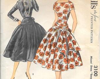 McCALL'S 3100 RARE Grace Kelly Dress Size 10 Bust 28 1/2  Drop Waist Full Skirt Square Bateau Neckline Sash Vintage 1950's Pattern