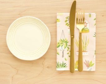 Plant Themed Cloth Napkins in Rose Pink