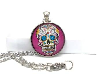 Sugar Skull Necklace, Pink Sugar Skull Pendant, Sugar Skull Jewelry, 18 inch Necklace, Day of the Dead Jewelry, Dia De Los Muertos