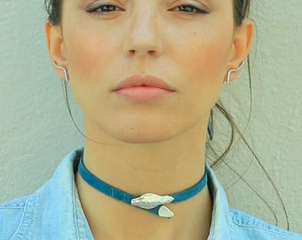 Snake choker, leather chokers for women, leather choker necklace, leather choker collar, silver snake necklace, leather collar necklace..
