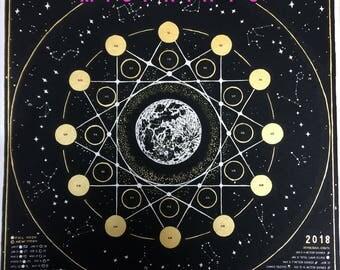 MISPRINT 2018 Lunar Calendar, 2018 Moon Phase Calendar, 2018 Wall Calendar, Astrology, Astronomy,  Moon, Galaxies, Gold, Magic