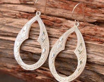 Sterling Silver, Celtic Hoop Earrings, Sterling Silver Ear wires,  gypsy Bohemian, Dangle Earrings,- Sterling Silver teardrops, Handmade