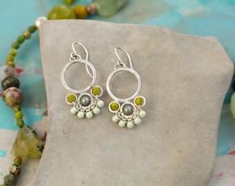 Flower Drop Earrings in Green
