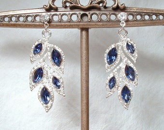 Art Deco Sapphire Earrings, Rhinestone Leaf Navy Blue Bridal Dangle Earrings Silver Drop Flapper Earrings 1920 Gatsby Wedding Vintage