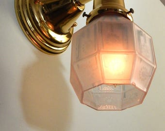 Brass Sconce Light Fixture with Well Worn and Shabby Antique Arts and Crafts Glass Shade Light Fixture