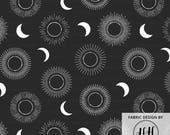 Solar Eclipse Fabric by the Yard - Sunburst Moon Total Eclipse Solar Print in Yard & Fat Quarter