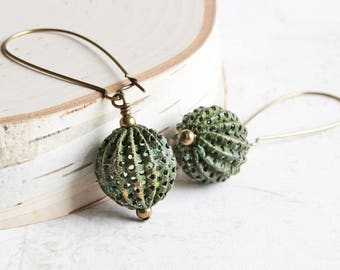Large Aged Green Patina Bead Dangle Earrings on Antiqued Brass Hooks