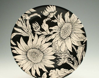 "12"" Serving Platter, Sunflowers Black and White Ceramic Serving Platter, Pottery Platter, Serving Plate, Decorative Tableware Dinnerware"