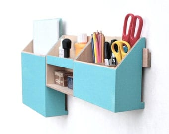 Wood wall organizer, Turquoise Mail Organizer, Wall hanging Mail Holder, Pen holder, Home Office wall hanger, Turquoise box, back to school