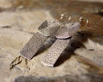 Sterling Silver PMC Layered Drop Earrings / 20g SS Ear Wires / Shadows of Göbekli Tepe Monoliths / Etched Maze + Pitted Stone Finish