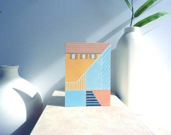 Mini Modern Architectural Art Painting, home decor, Housewarming gift
