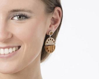 Half circle earrings, Semi circle earrings, Pendulum cocktail earrings, Modern long earrings, Summer wood earrings,  Wood handmade earrings