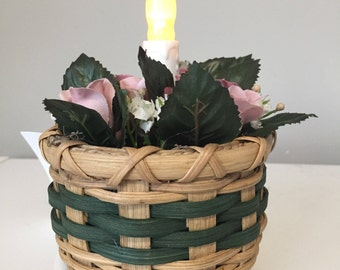 Small Light-Up Basket with Flowers - LED Candle Holder Basket