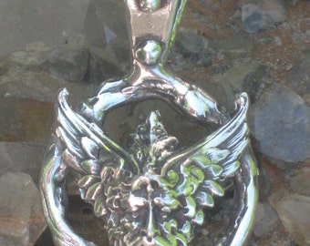 The Green Man in Sterling Silver Pendant. Wiccan God Charm.Viking God Charm.Thor Pendant Charm.Green Man Charm.