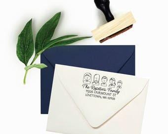 Custom Family Portrait Address Stamp - Family Avatar Illustration Return Address - Wood Mounted Rubber Stamp - Unique Housewarming Gift
