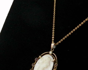 Antique Shell Cameo Pendant Necklace