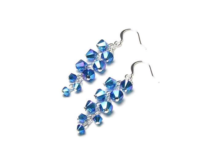 Capri Blue AB2X Swarovski Crystal Cluster Silver Dangle Earrings Metallic Satin Shimmer Mermaid Theme Summer Wedding Jewelry Gift Women Teen