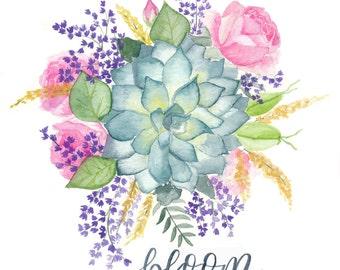 Bloom Floral Watercolor Print