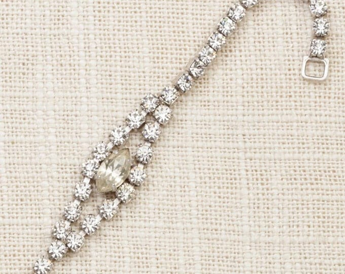 Vintage Bracelet Silver Rhinestone Chain Sterling Marquese Delicate Costume Jewelry 7J