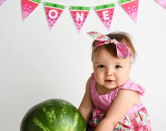 Watermelon  Banner INSTANT DOWNLOAD One in a Melon First 1st Birthday Party Banner Printable DOWNLOAD
