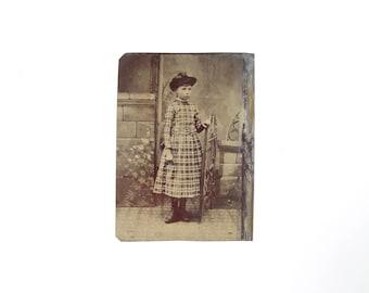Vintage Tintype Photo of Little Girl with Hat / Civil War Era Tintype Photograph