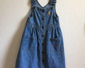 """Adorable Vintage Little Girl's Denim Tweety Bird Overall Dress ~ Official Warner Bros, Inc ~ """"I Tawt I Saw A Puddy Tat"""" ~ 1995"""