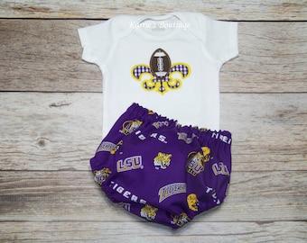 LSU Football 2 pc Set / BOY / Onesie + Bloomers / Purple / Gold / LSU Baby / Geaux Tigers / Fleur de Lis / Infant / Baby / Toddler/ Boutique