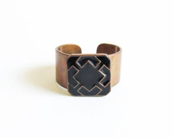 Vintage Copper & Black Enamel Modernist Cuff Ring with Geometric Square Design Size 6