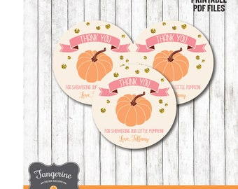 Little Pumpkin Baby Shower Favor Tags, Pumpkin Favors, Thank You Tags, Printable Tags, Square or Circle, Personalized, Printable PDF File