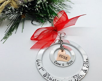 Christmas Gift for Newlyweds - Our First Christmas - Christmas Ornaments - Personalized Family Ornaments - The Charmed Wife - Wedding Gifts