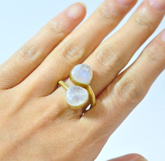 White Moonstone Ring - June Birthstone Ring - Adjustable Ring - Gemstone Ring - Gold Ring - Bezel Set Ring