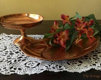 Vintage Copper Oval Platter and Pedestal Dish, Vintage Copper Dishware, Ecclectic Decor, Mod Decor, Jewelry Holder, Copper Food Platter