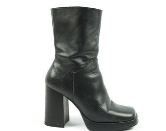 Platform Mid 90s X-File Boot, Black Leather Mid Calf Boots By Candies, Zip-Up Tall Vintage Boots, Women's Size 7.5
