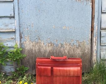 vintage eel skin  briefcase / office bag / laptop bag red leather- 80s