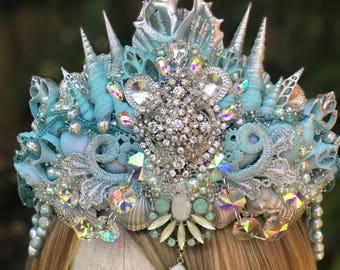 Mermaid Crown, Mermaid Costume, Aqua Mermaid Tiara, Shell Crown, Seashell Crown, Festival Crown, Crowns and Tiaras, One Of A Kind, Cosplay.