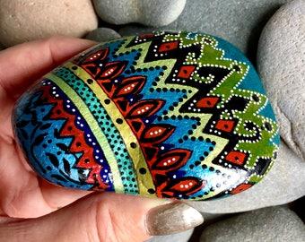 Beat of my heart /painted rocks/ painted stones/ tribal art / boho art / hippie art / hand painted rocks / coffee table art / desk art