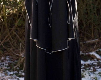 vintage midi length dress,black with floral yoke,Pret-a-porter made in England.